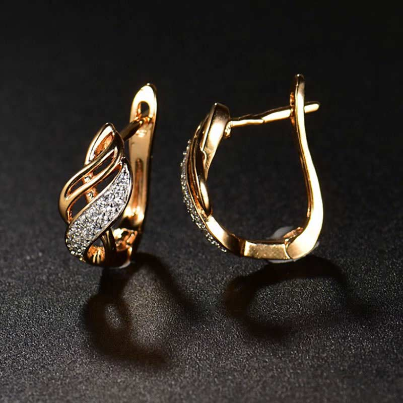 Gold Swirls Stud Earrings