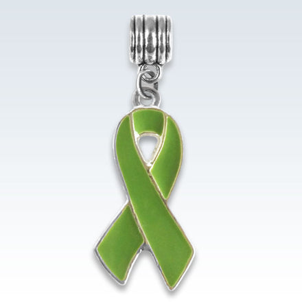 Awareness Ribbon Light Green Charm