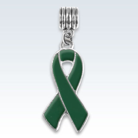 Awareness Ribbon Dark Green Charm
