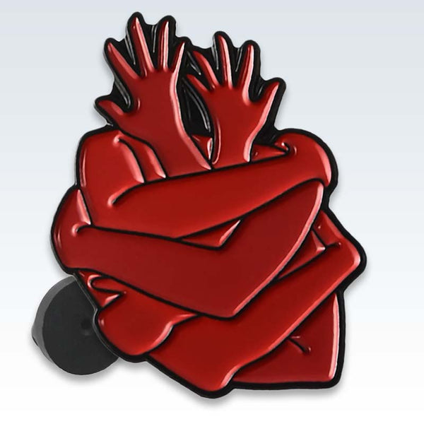Red Heart Hugs Enamel Lapel Pin Detail