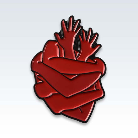 Heart Hugs Enamel Lapel Pin
