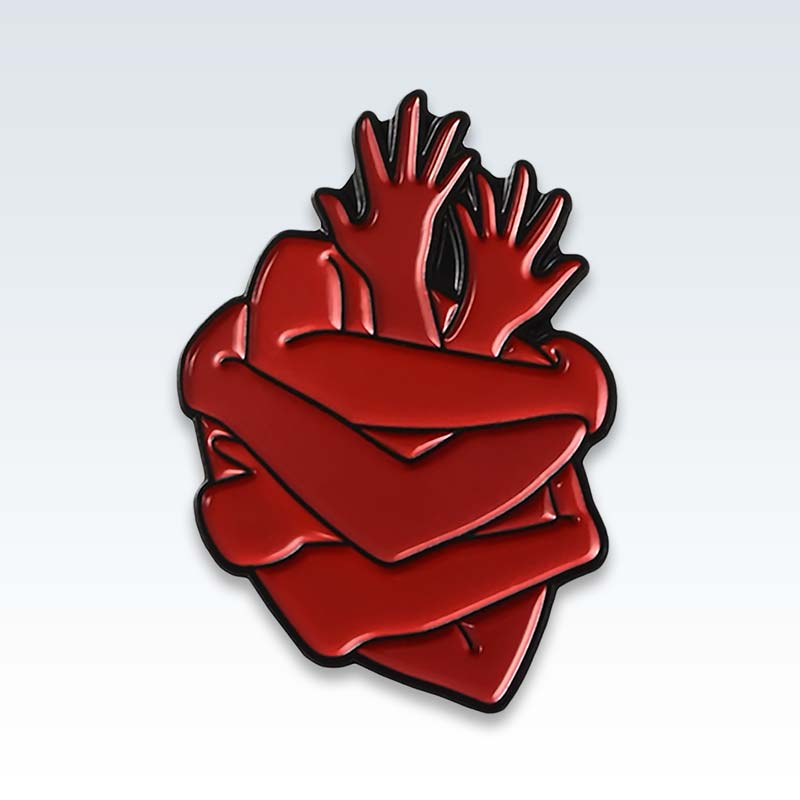 Red Heart Hugs Enamel Lapel Pin