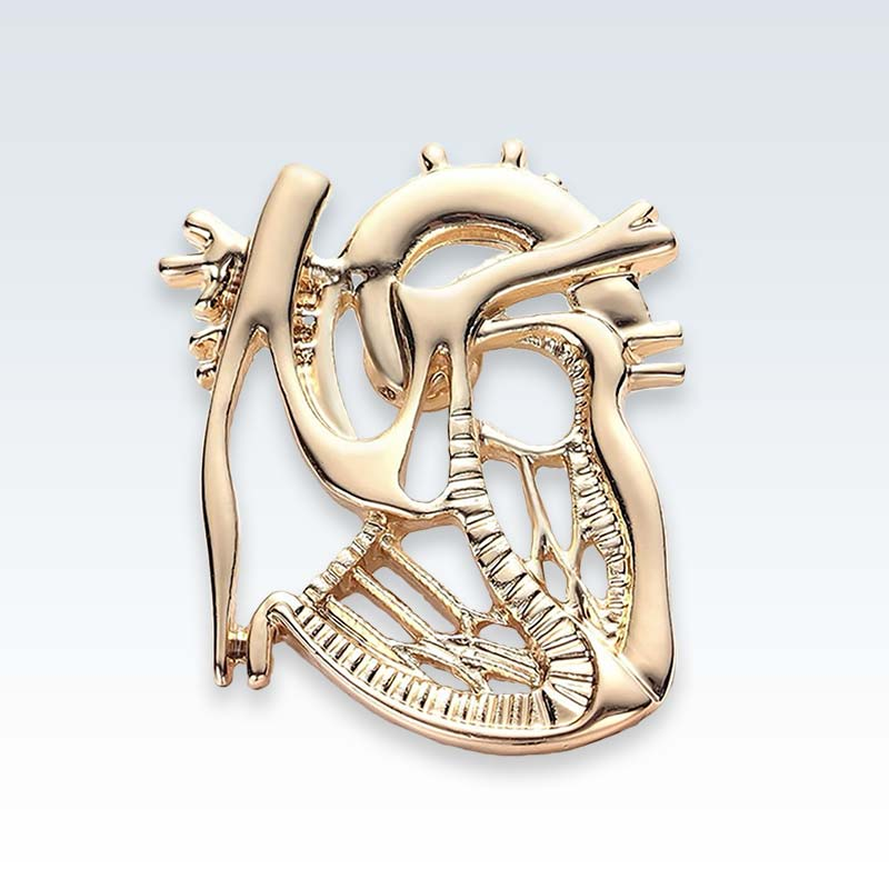 Gold Dissected Heart Lapel Pin