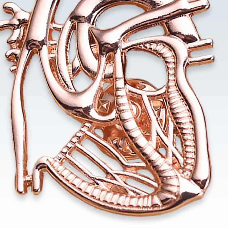 Rose Gold Dissected Heart Lapel Pin Detail