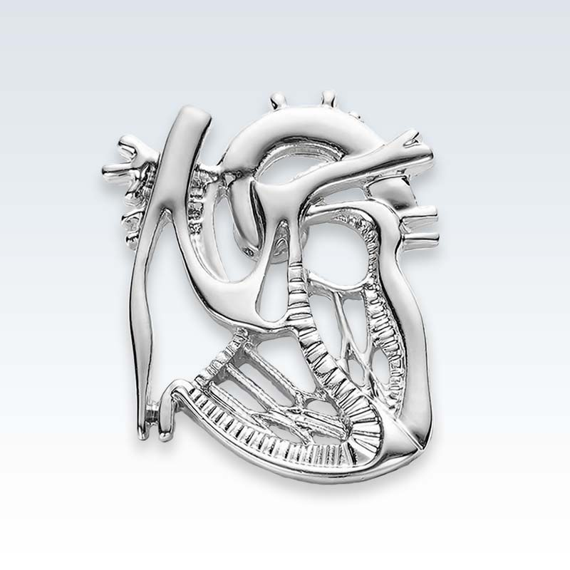 Silver Dissected Heart Lapel Pin