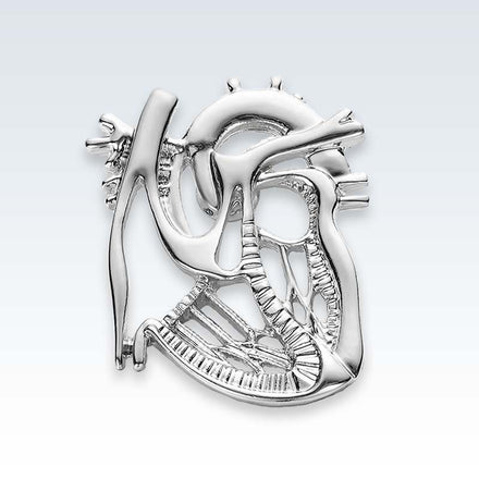 Anatomical Dissected Heart Lapel Pin Silver