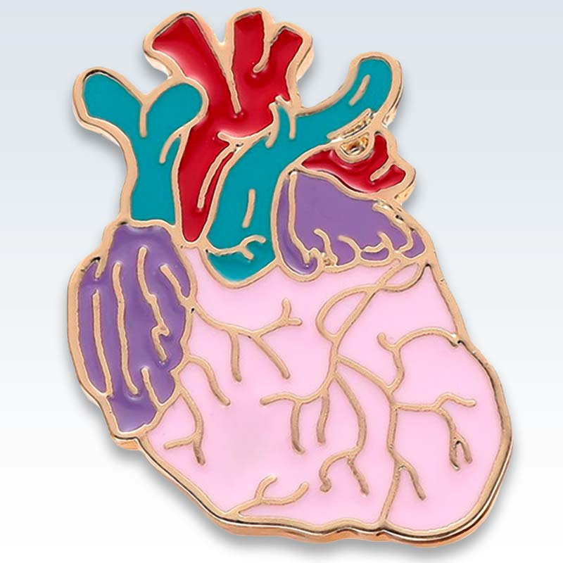 Colorful Enamel Heart Lapel Pin Detail