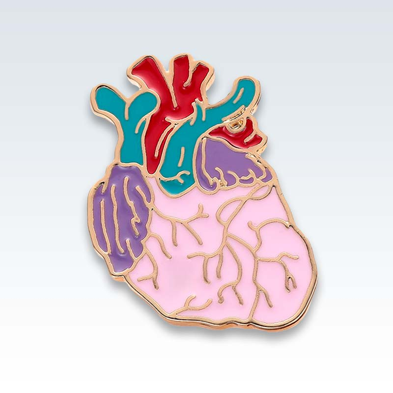 Anatomical Heart Enamel Lapel Pin