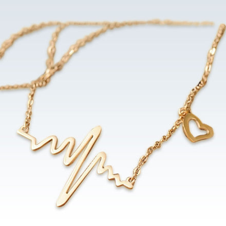 Heartbeat ECG Titanium Necklace Gold