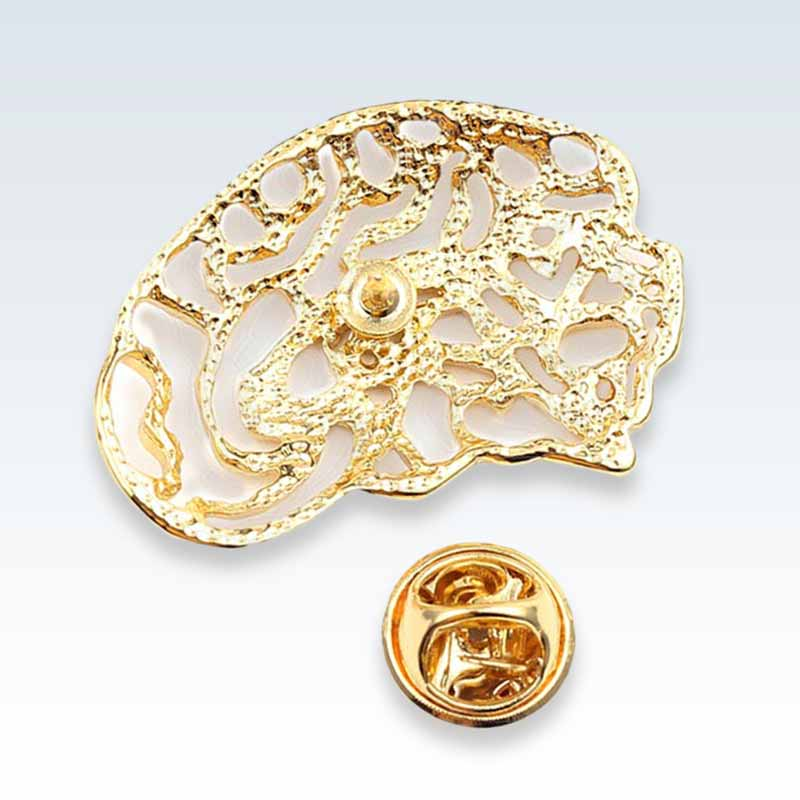 Hollow Brain Gold Lapel Pin Back