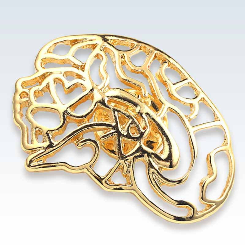 Hollow Brain Gold Lapel Pin Detail
