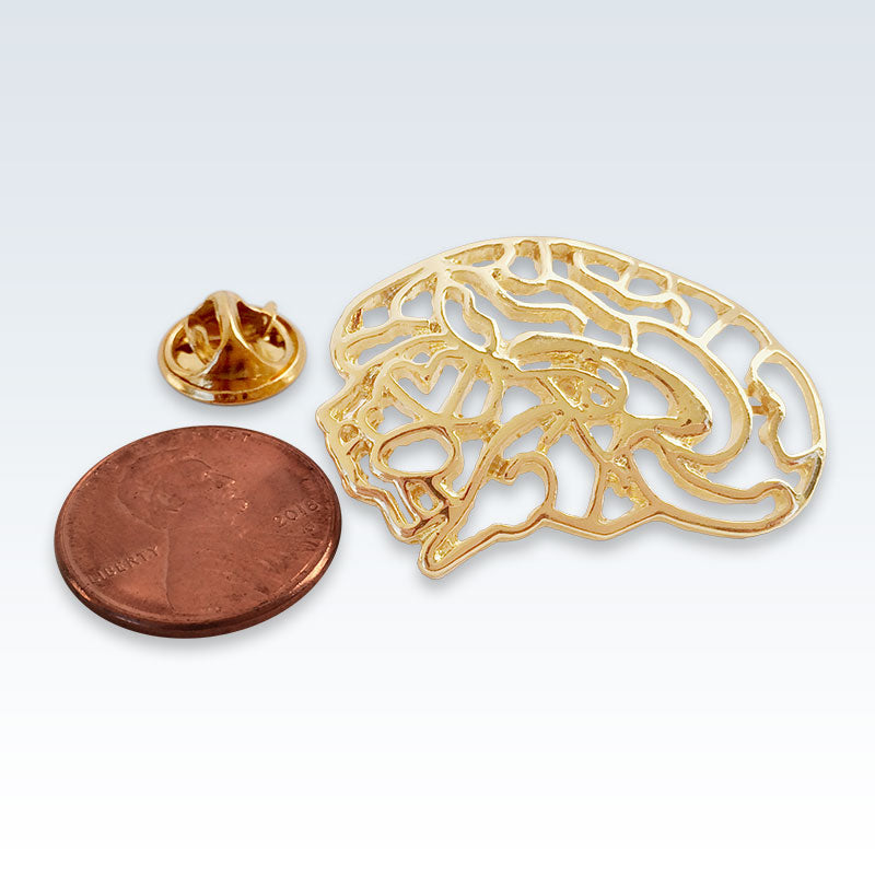 Hollow Brain Gold Lapel Pin Size
