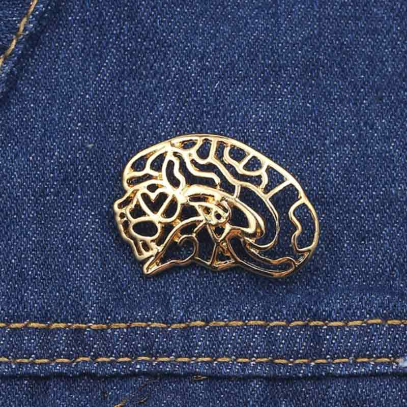 Wearing Hollow Brain Gold Lapel Pin
