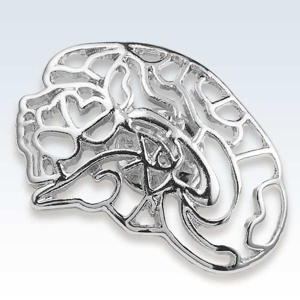 Hollow Brain Silver Lapel Pin Detail