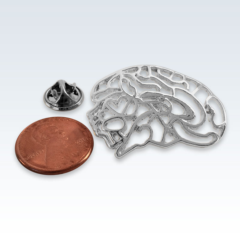 Hollow Brain Silver Lapel Pin Size