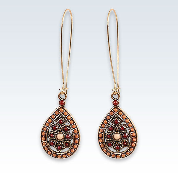 India Wine Red Teardrop Earrings