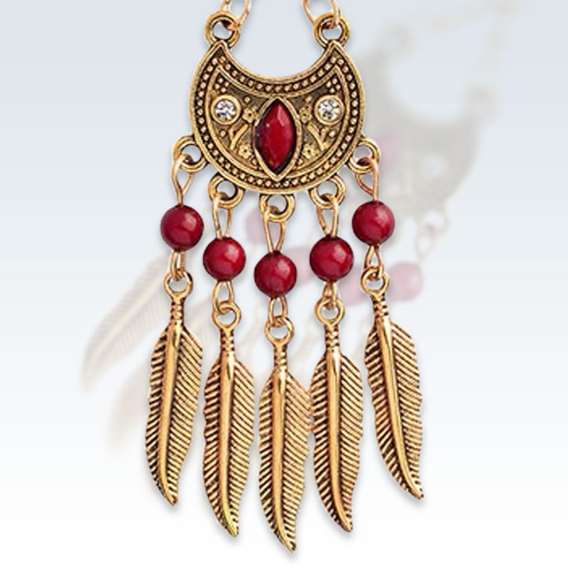 Indian Gold Feather Earring Detail