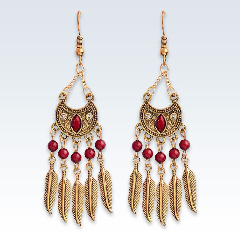 Indian Gold Feather Drop Earrings