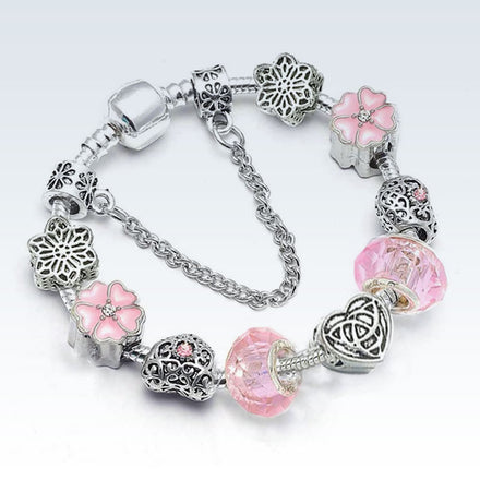 Silver Plated Charm Bracelet Pink