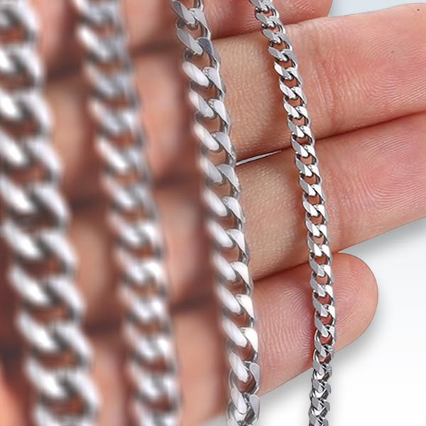 Stainless Steel Boxed Chain on Hand