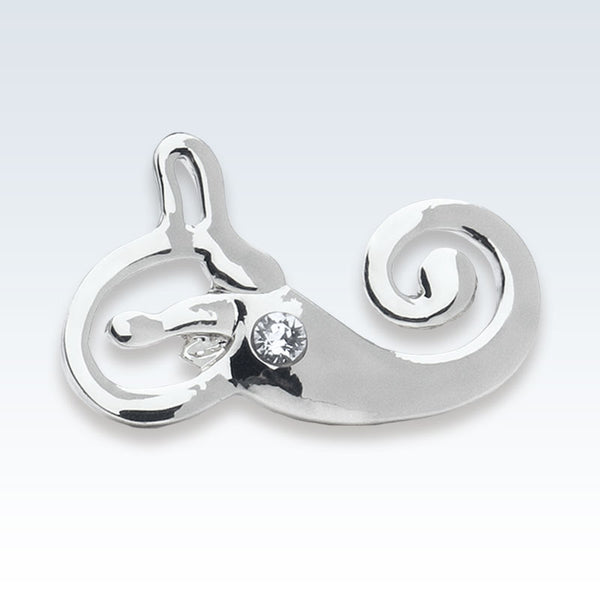 Silver Inner Ear Lapel Pin