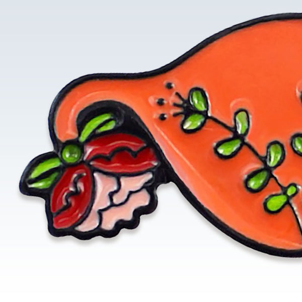 Orange Enamel Floral Uterus Lapel Pin Detail