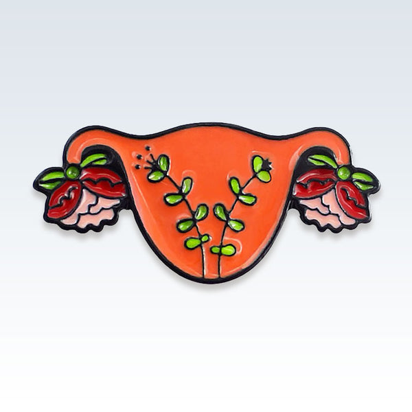 Orange Enamel Floral Uterus Lapel Pin