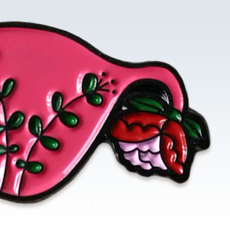 Red Enamel Floral Uterus Lapel Pin Detail
