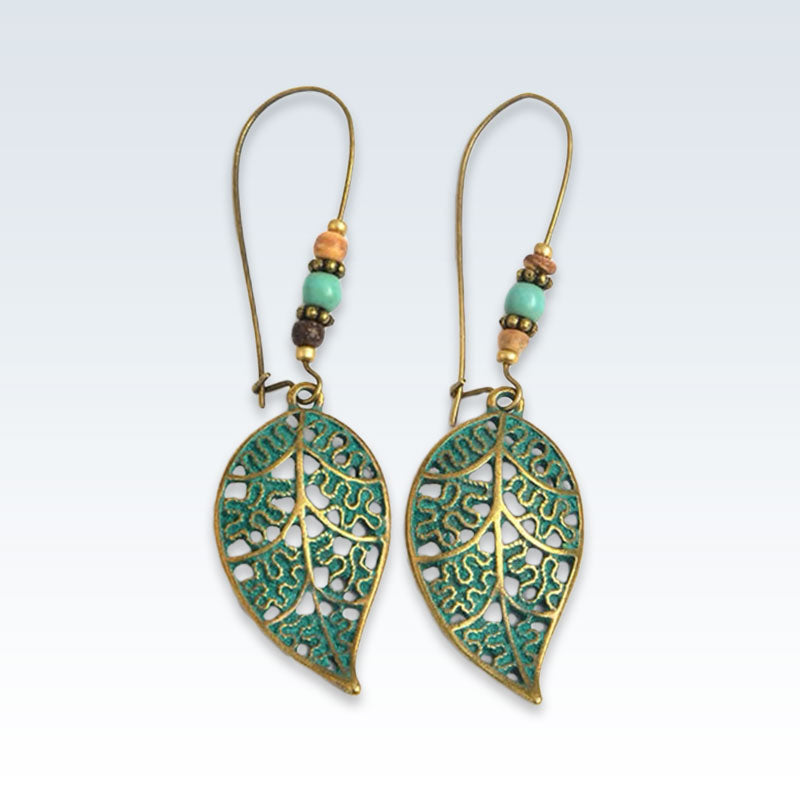 Leaf Green Bohemian Drop Earrings