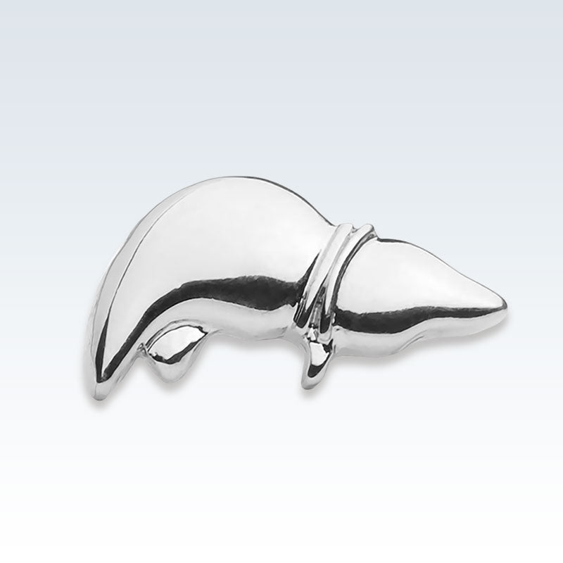 Anatomical Liver Silver Lapel Pin