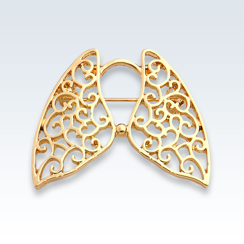 Anatomical Hollow Lungs Gold Lapel Pin