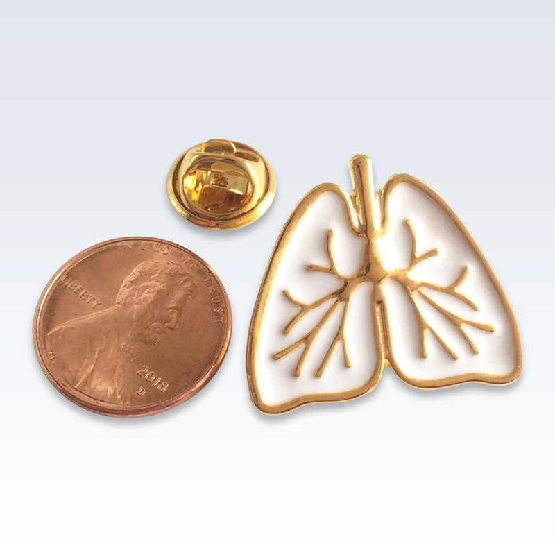 White Enameled Lungs Lapel Pin Size