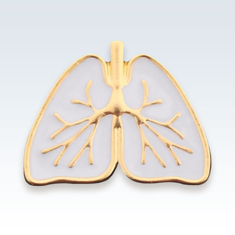 White Enameled Lungs Lapel Pin
