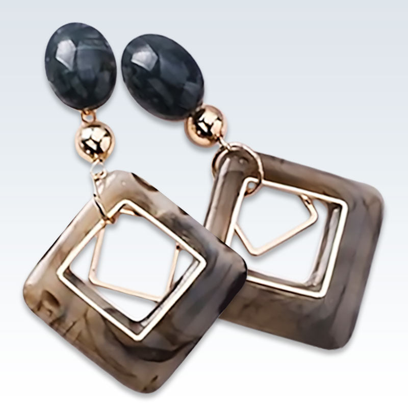 Marble Resin Geometric Earrings Detail