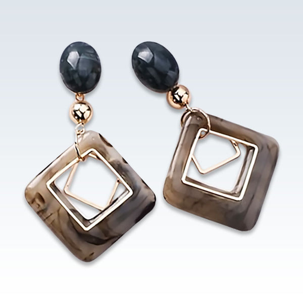 Marble Resin Geometric Earrings