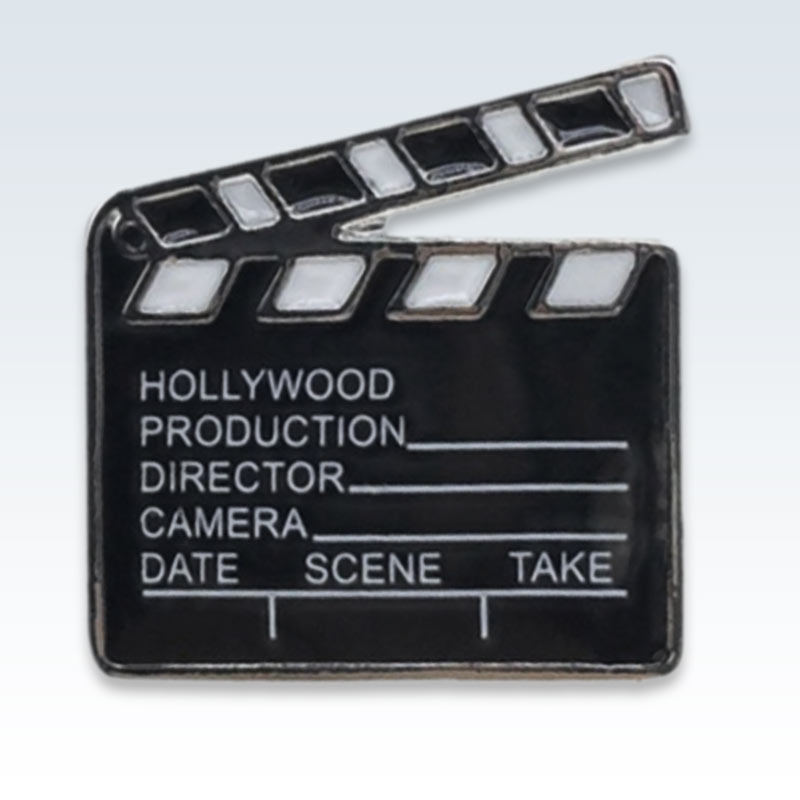 Movie Clapper Enamel Lapel Pin Detail