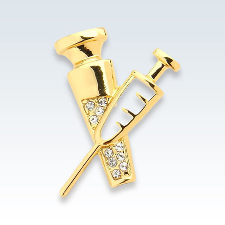 Needle Shots Gold Lapel Pin