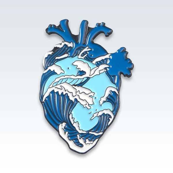 Blue Ocean Heart Enamel Lapel Pin