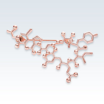 Oxytocin Molecule Rose Gold Lapel Pin