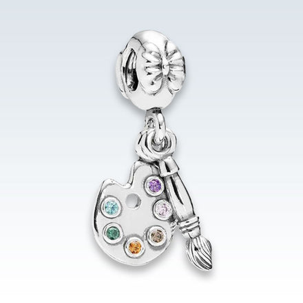 Artists Paint Pallet Sterling Silver Charm