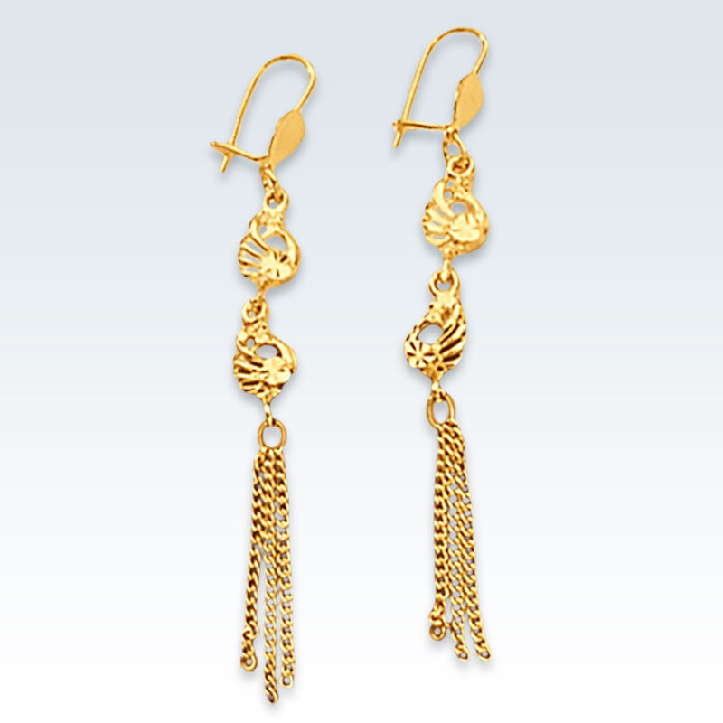 Peacock 24k Gold Dangle Earrings