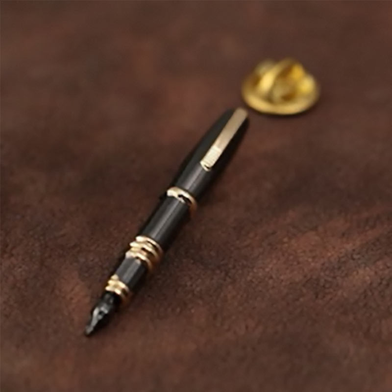 Black and Gold Writing Pen Lapel Pin