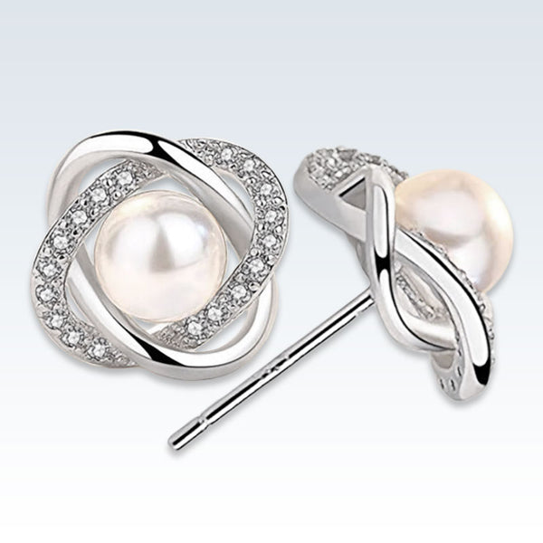 Pearl Mobius CZ Silver Stud Post