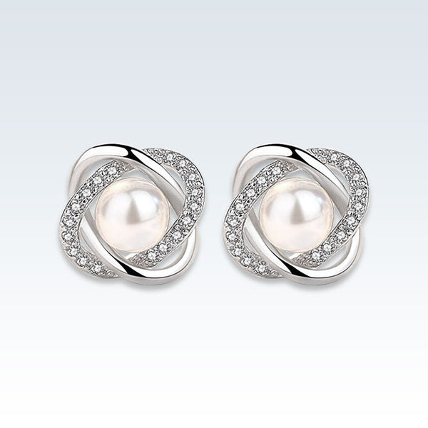 Pearl Mobius CZ Silver Stud