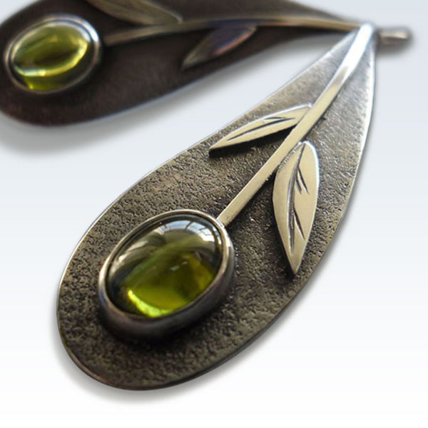 Plant Leaf Olive Green Stone Earrings Detail