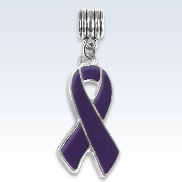 Awareness Ribbon Purple Metal Charm