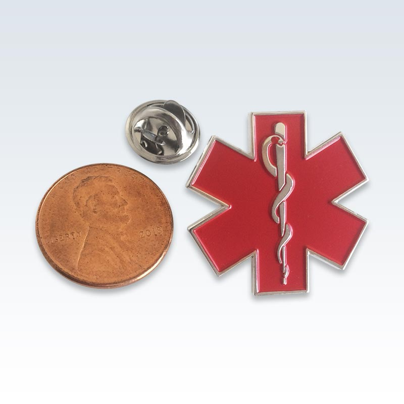 Red Star of Life Lapel Pin Size