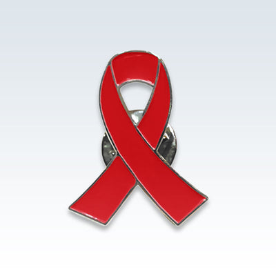 Red Ribbon Breast Pin