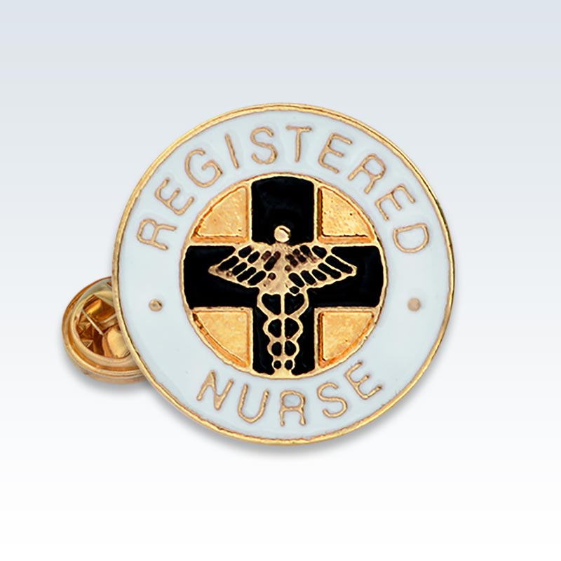 RN White Enamel Lapel Pin