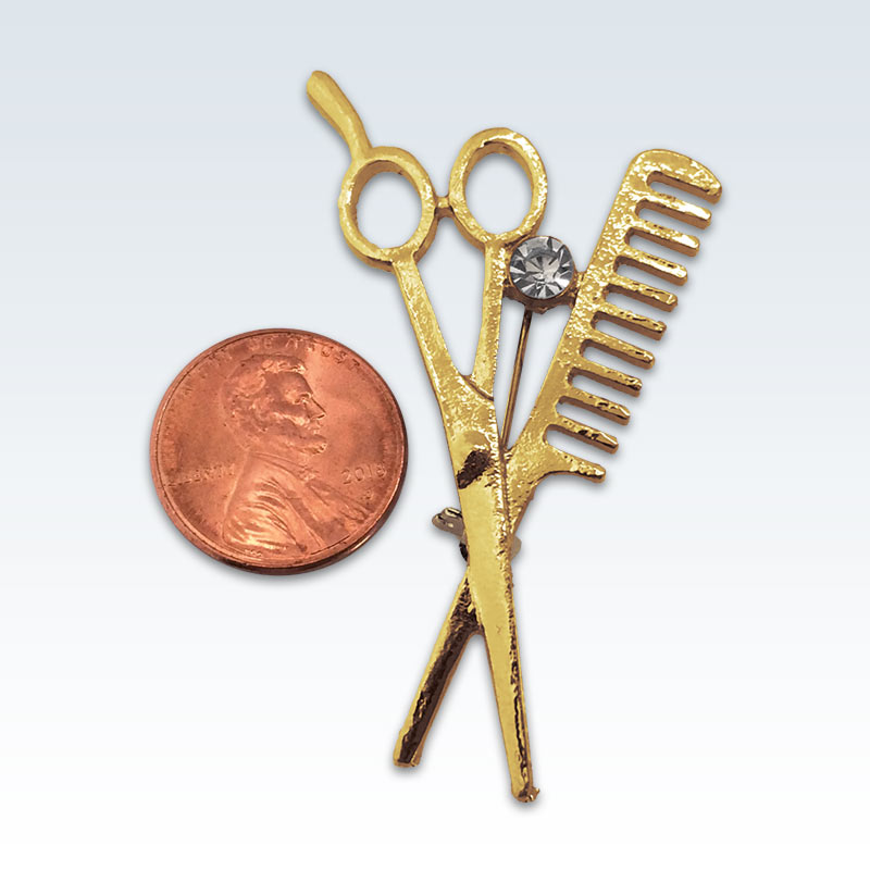 Gold Scissors Comb Lapel Pin Size